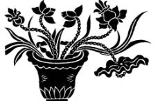 花卉盆景壁画图片