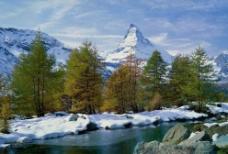 雪山 树林 流水图片