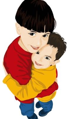 卡通可爱抱抱图片